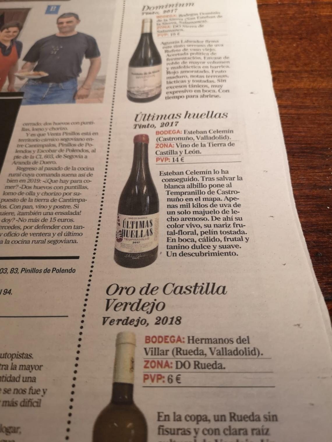 """El vino """"ÚItimas Huellas"""" de Esteban Celemín, en el Diario de Valladolid"""